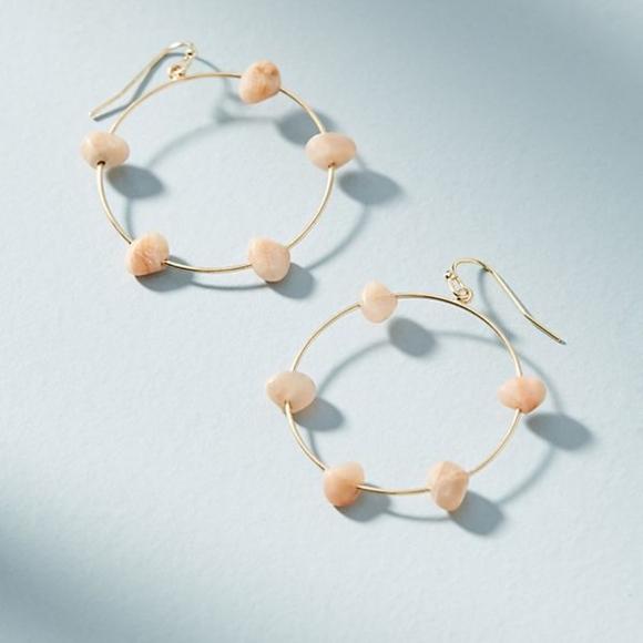 Anthropologie Maria Stone Hooped Drop Earrings CYZubu
